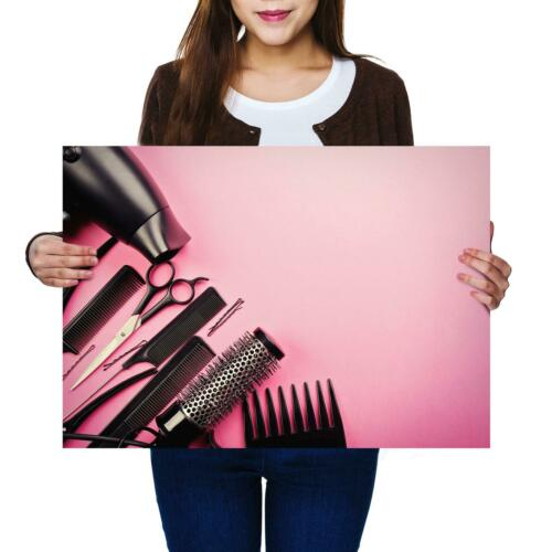 A2Cute Pink Hairdresser Tools Set Size A2 Poster Print Photo Art Gift #3336