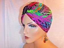 "Chemo Turban Bright Jewel Tones on Black ""Something4you"" Hairloss Alopecia Hijab"