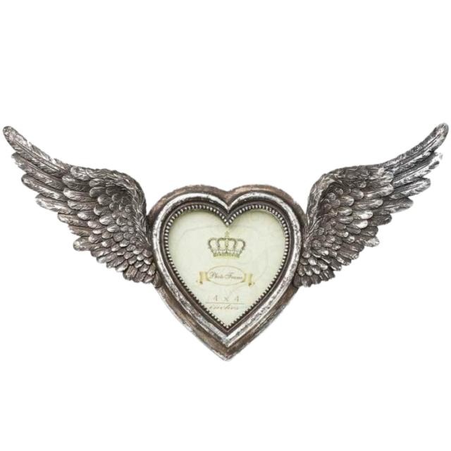 Alchemy Alado Corazón Marco de fotos, color plata, gótico, alas