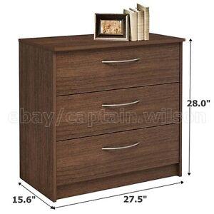 Bedroom Storage Dresser Chest, Nightstand with 3 Drawers Brown Walnut
