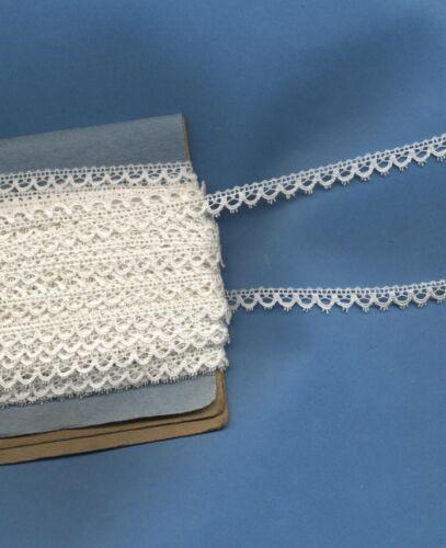 ancienne 14 m 30  x 7 mm dentelle galon bordure picot blanc