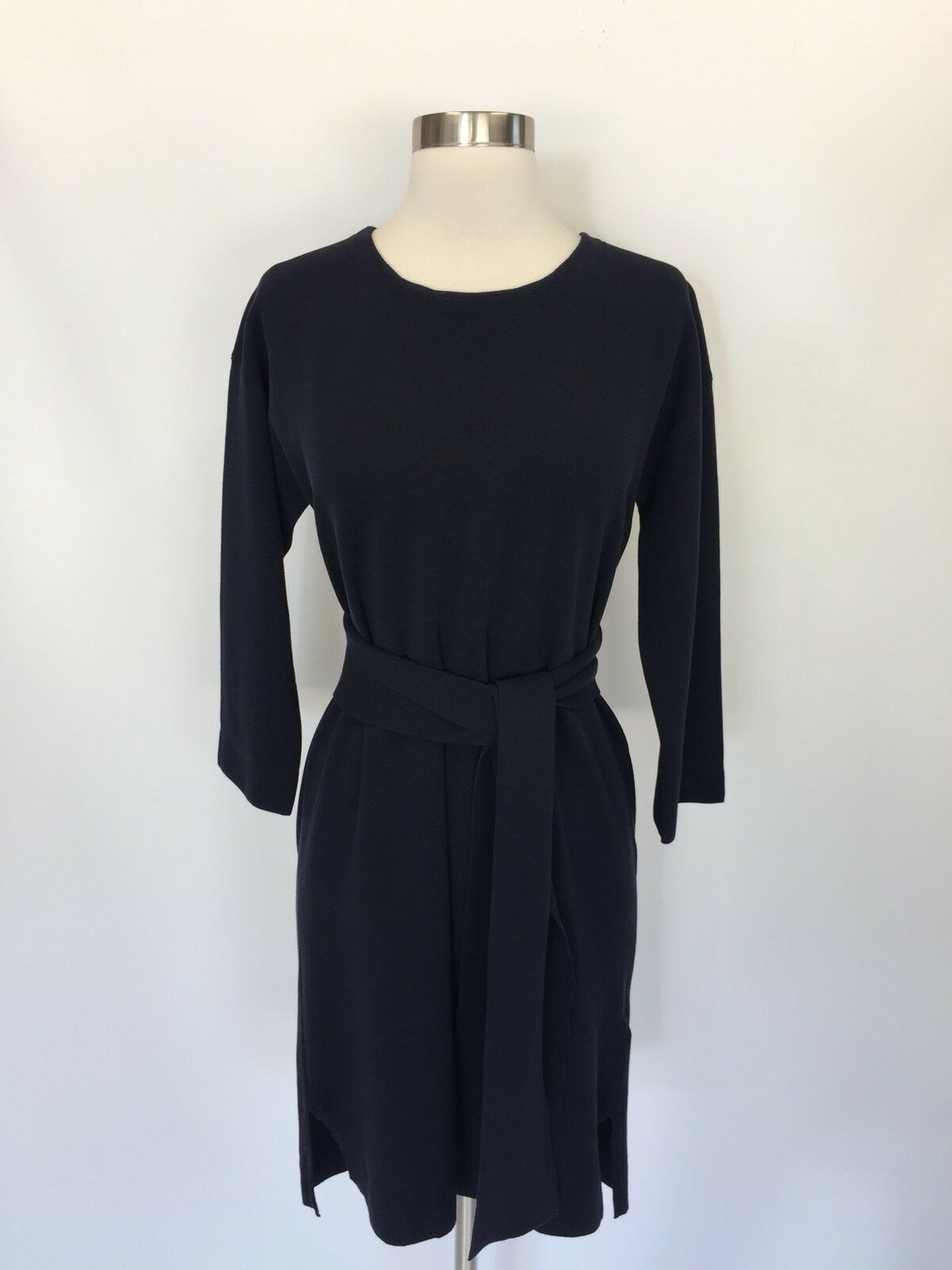 New J.CREW Tie-Waist Cotton Dress Indigo Sea Navy Sz S Small H6940