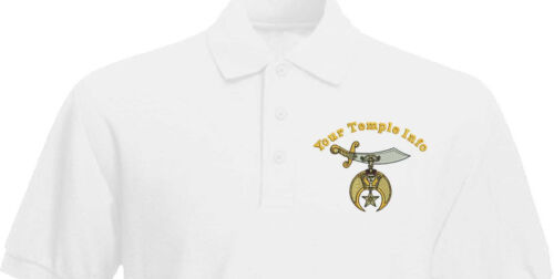 Shriner emblem Masonic Custom embroidered Polo Shirt with Name and Temple Info