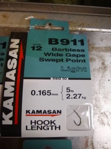 EYED KAMASAN B911 HOOKS TO NYLON  bait band  X2 PACKS EYED X-STRONG X3 PACKS