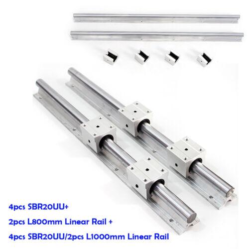 Silver 2XSBR20 Linear Rail+4XSBR20UU Support Rail Unit Provides Maximum Rigidity