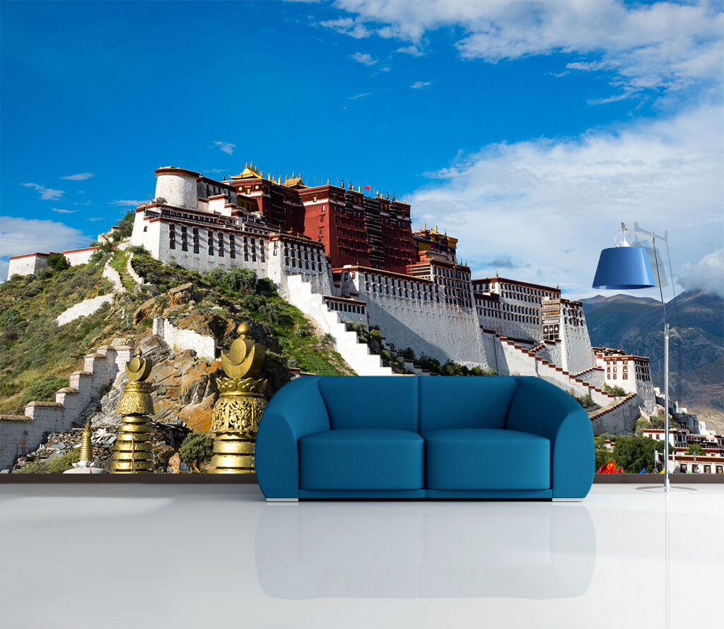 3D temple plateau sunlight Wall Paper Print Decal Wall Deco Indoor wall Mural