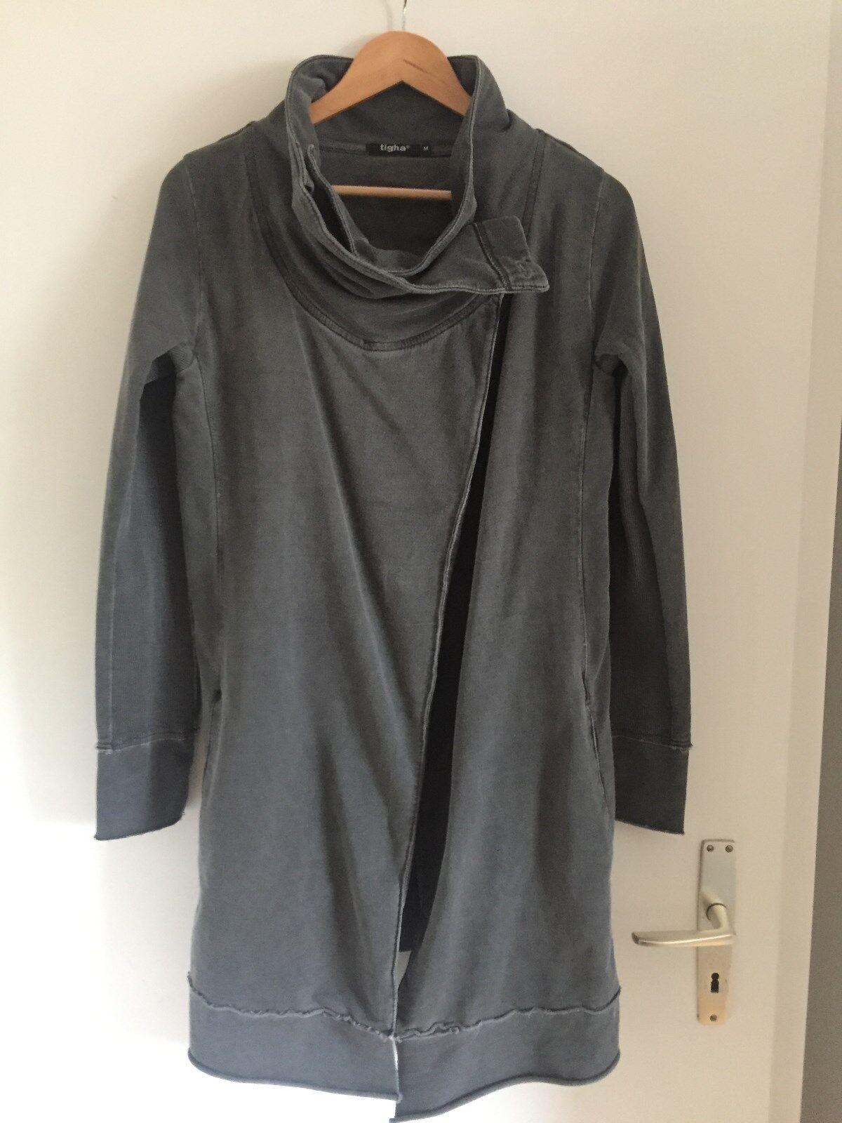 TIGHA obercoole Jacke schweißjacke mit Wasserfallkragen dunkelgrau Gr. M 38