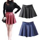 Korean Style PU Leather Skirt Women's High Waist Pleated Short Vintage Skirt