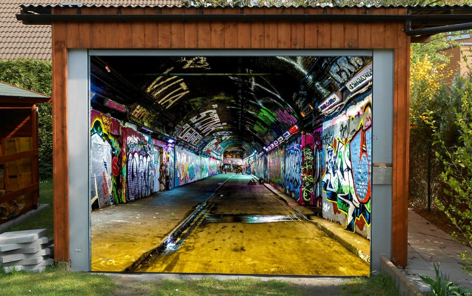 3D Tunnel graffiti Garage Door Murals Wall Print Decal Wall Deco AJ WALLPAPER AU