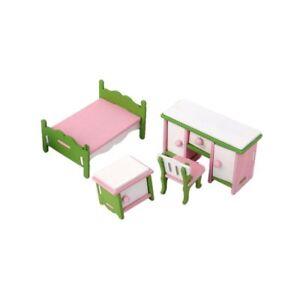 Puppenhaus Zubehör Möbel Miniaturen Holz Schlafzimmer Jugendzimmer 4
