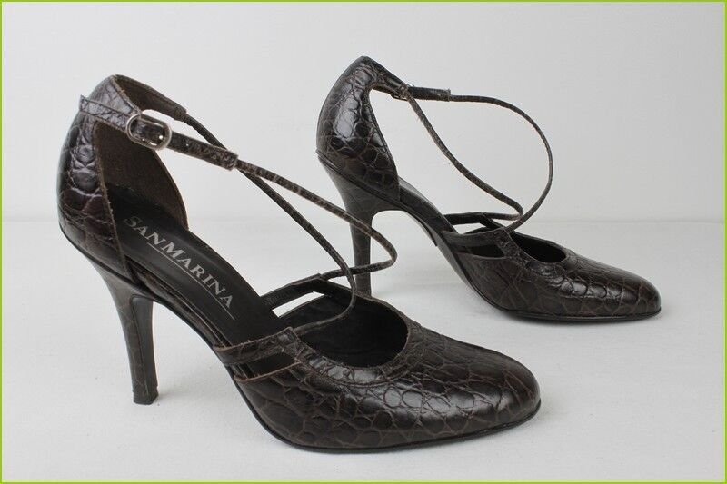 Open Court shoes shoes shoes SAN MARINA Brown Leather way Crocodile T 36 TOP CONDITION cd8498