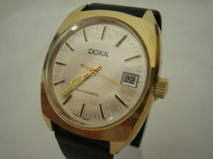 NOS NEW SWISS AUTOMATIC GOLD PLATED ST STEEL MEN'S DOXA WATCH 1960'S WITH DATE