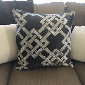 THROW-PILLOW-Velvet-Grey-Beaded-Home-Decor-Pillow-50x50cm-Cushion-Cover-Sparkle
