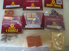 Bachmann G-Scale 6 Station Items,3 types Crates, handtruck,trunk, barrels   NEW