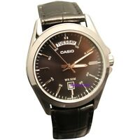 Casio Men's Black Dial Black Leather Band Steel Day Date 50M Watch MTP1370L1A