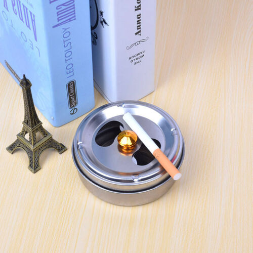 Stainless Steel Round Revolving Ashtray Rotation Enclosed Lid Hotel Home Gadgets