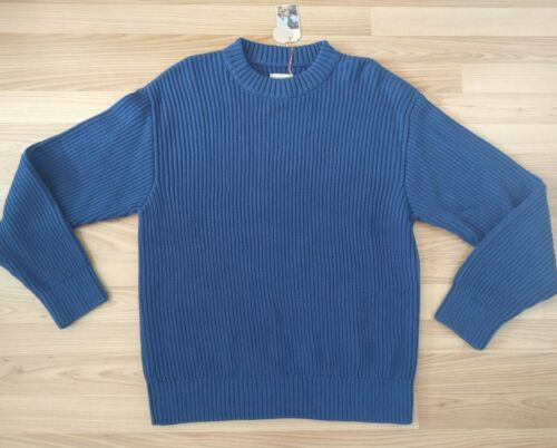 NEU Nudie Jeans Knitted Pullover Pulli Frank Chunky Rib Blue M