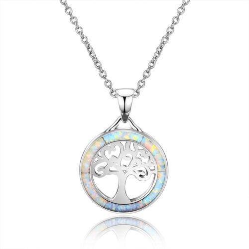 925 Argent Arbre de Vie Blanc Opale de feu Gemme Gem Bijoux Collier Pendentif