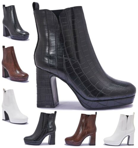 LADIES STRETCH CHELSEA ANKLE BOOT HIGH HEELS WOMENS PLATFORM BOOTS SHOE SIZE