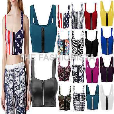Femme front zip rembourré bustier boobtube strap stretch bra crop top