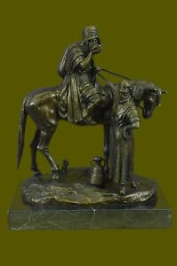 Handmade-Reproduction-Arab-Warrior-Horse-Bronze-Sculpture-French-Figurine