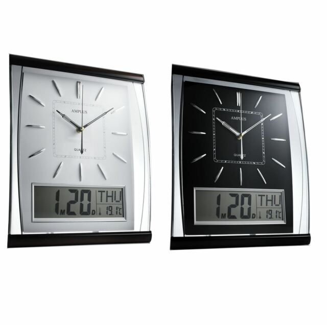 Amplus Analogue/Digital Rectangular Calender Temperature Wall Clock PW066