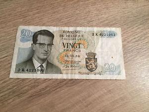Banknote-Belgium-2-Billets-Belgique-20-Francs-Frank-1964-Roi-Baudouin-Belgie
