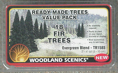 TR1585 Woodland Scenics 2-4 Ready Made Evergreen Value Pack 18//Pk