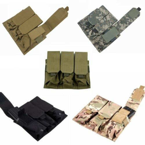 Tactical Military Molle Belt Clip 5.56 .223 Mag Triple Magazine Pouch Holster