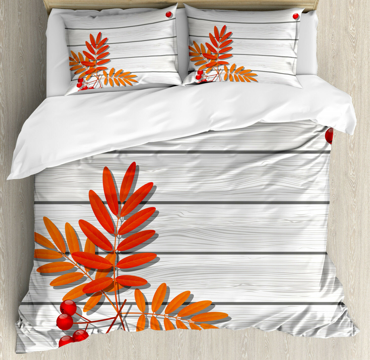 Rowan Duvet Cover Set with Pillow Shams Freshness Growth Ecology Print
