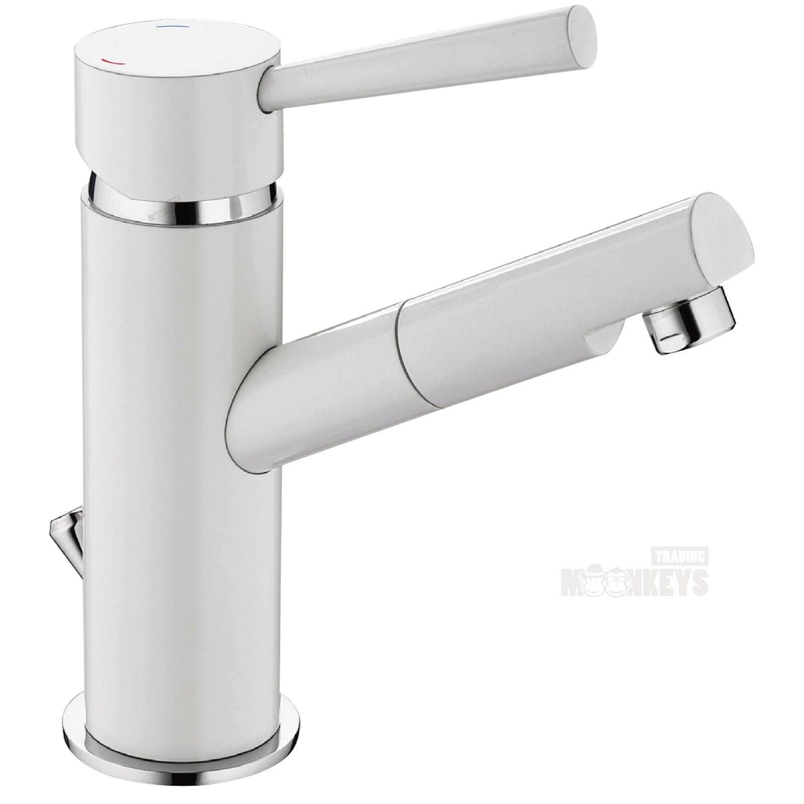 Einhebel-mischer Bad Waschtisch Armatur Wasserhahn in weiss weiss weiss inkl. Ablaufgarnitur 0bf297