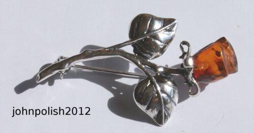 Interesting Rose Cognac Amber Brooch Silver 925