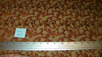 Tan Gold Burgundy Print Chenille Upholstery Fabric Remnant  F1161