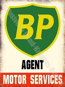 Vintage Garage BP Petrol, Motor Service Oil Old Advert 15, Large Metal Tin Sign