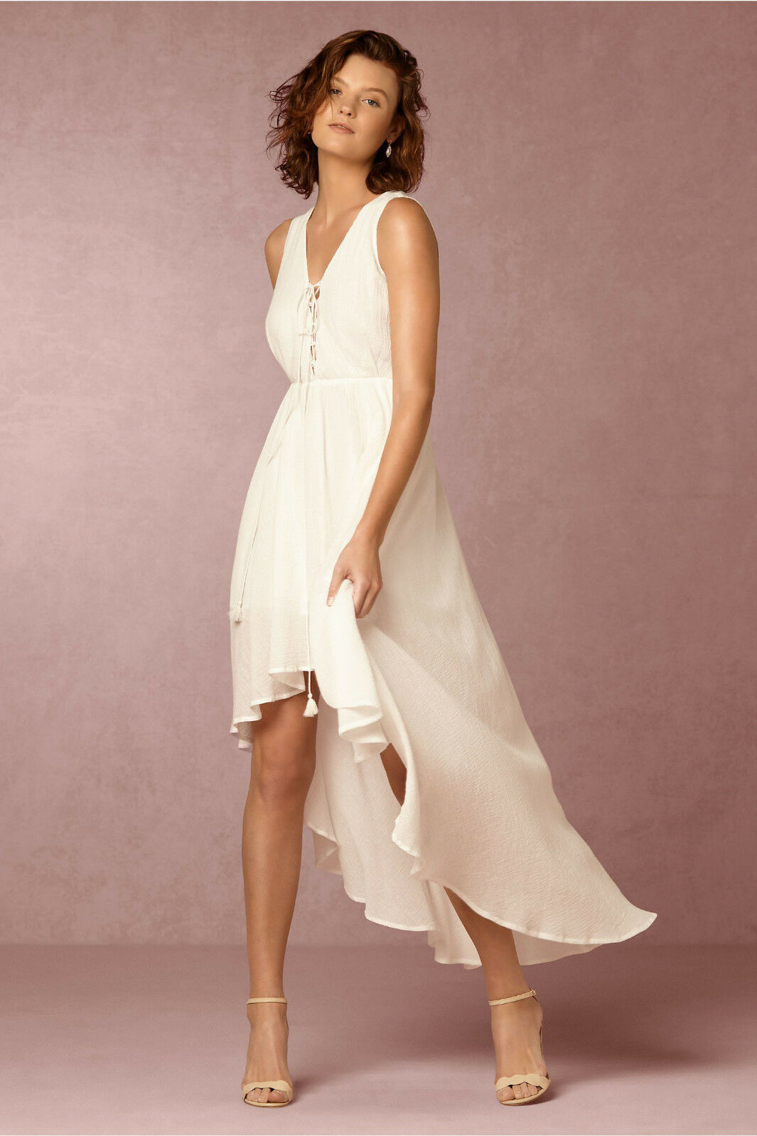 NEW ANTHROPOLOGIE BHLDN  IVORY HIGH-LOW KATJA DRESS BY THE JETSET DIARIES L