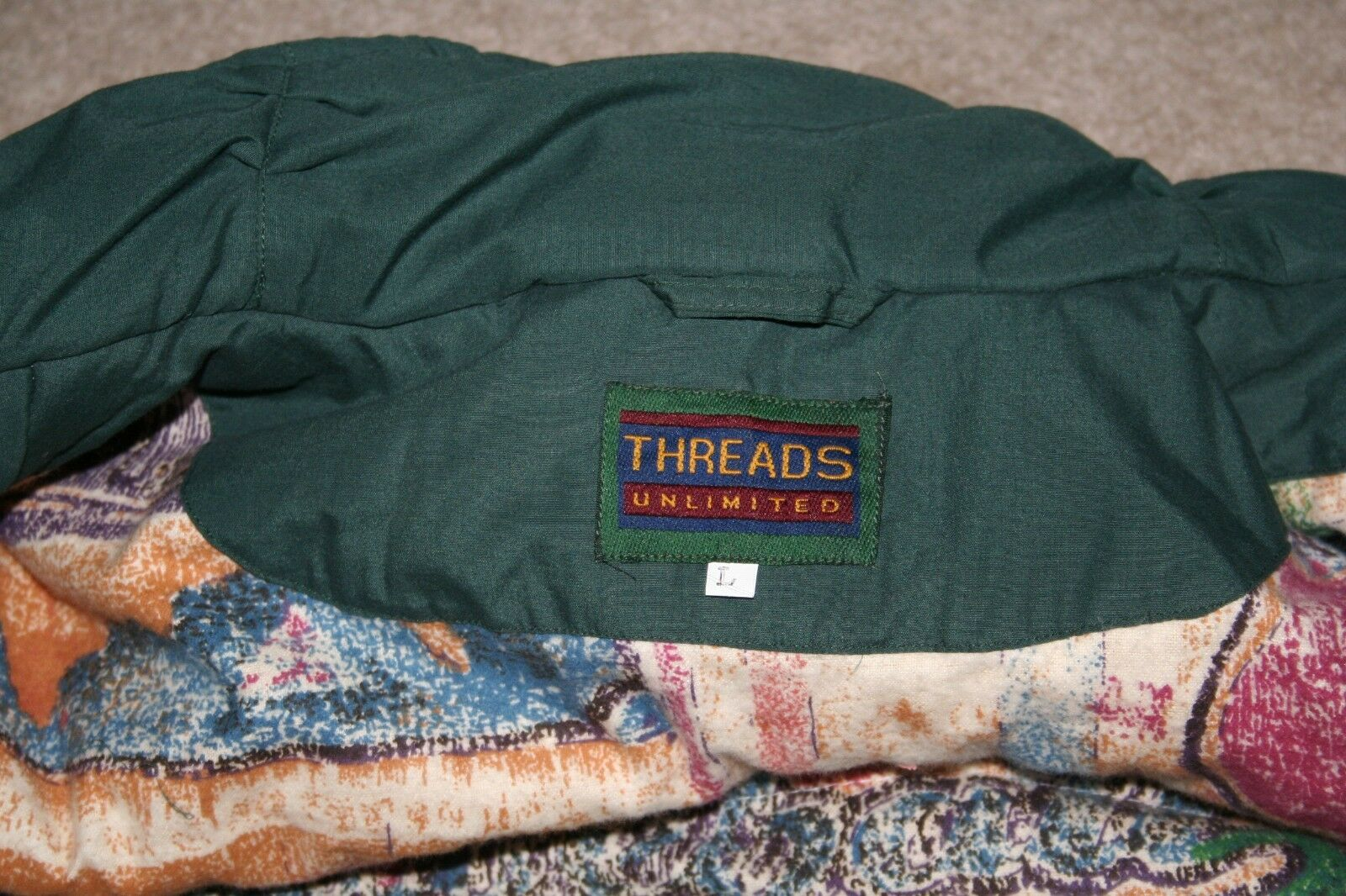 Men's Duffel Coat Parka LARGE Green Threads Unlim… - image 7