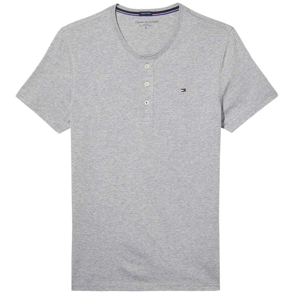 Tommy hilfiger en coton organique à manches courtes henley t-shirt, bouton t-shirt, henley gris heather 2db6d9