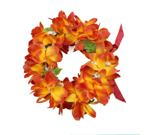 Hawaiian Lei Party Luau Haku Elastic Plumeria Silk Fabric Flower Orange Flare