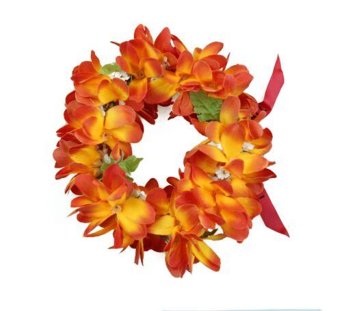 Hawaiian Lei Party Luau Haku Elastic Plumeria Silk Fabric Flower Orange Flare