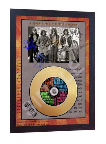 Led Zeppelin Mini Gold Vinyl CD Record Signed Framed Photo Print