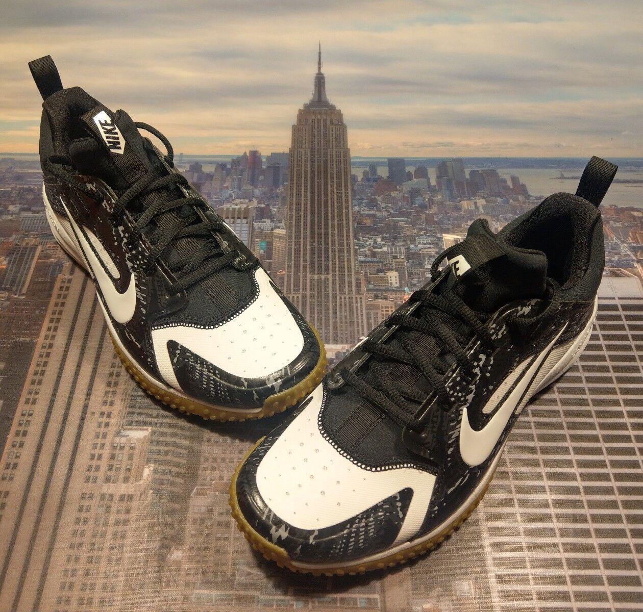 Nike Alpha Huarache Turf White White-Black Mens Size 8.5 923435 100 New