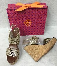 1a7f3e7c3 item 2 Tory Burch Daisy Wedge Sandal Gold Metallic Leather Laser Cut Out  Shoes 10m -Tory Burch Daisy Wedge Sandal Gold Metallic Leather Laser Cut  Out Shoes ...