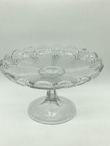 Depression-Glass-Comport-Cake-Stand-Dish-Vintage-12-5cm-high-x-21cm-diameter
