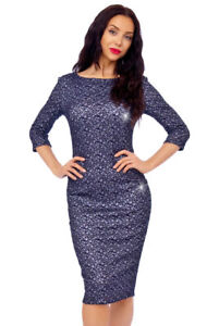 a4251bd7237 Image is loading Glitter-Lace-Overlay-Cocktail-Party-Midi-Dress
