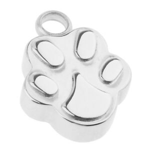 Silver-Stainless-Steel-Puppy-Dog-Paw-Print-Pendant-Ash-Urn-Cremation-Jewelry