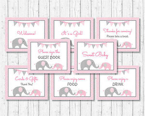 Pink Chevron Elephant Baby Shower Table Signs 8 Printable Signs Ebay