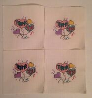4 Handmade Cross Stitch 'thank You' Greeting Card Front Inserts/jar Top/picture