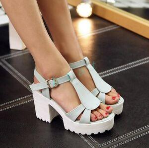 Womens Platform Sandals Shoes OpenToe Buckle Chunky Block High Heels Plus Size