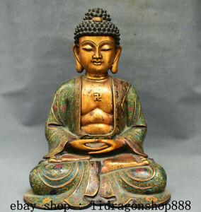 """17,2 """"Tibet Cloisonné Émail Violet Bronze 24k Doré Sakyamuni Bouddha Statue A2"""