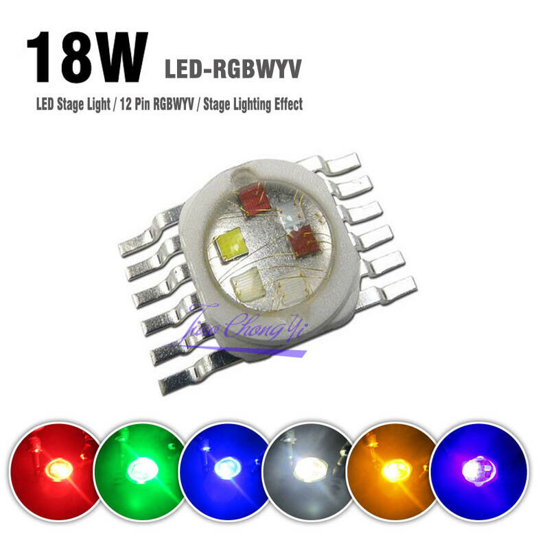 12 pin 18W RGBWYV Red Green bluee Yellow White Purple 6 in 1 LED Light For Stage